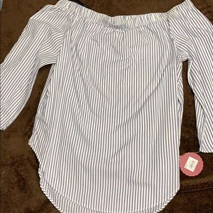 Blue and white striped off shoulder blouse. NWT